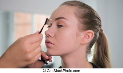 Professional make-up artist combing eyebrows of client....