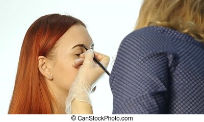 Professional make-up artist drawing eyebrows of beautiful...