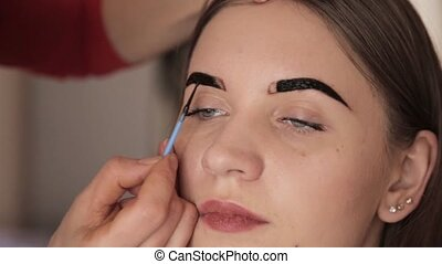 Professional make-up artist drawing eyebrows of client with...