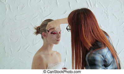 Professional make-up creating face makeup art
