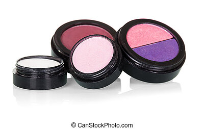 Professional make-up: eye shadow and blusher isolated on white.