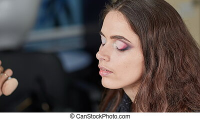 professional makeup artist makes makeup for a young woman