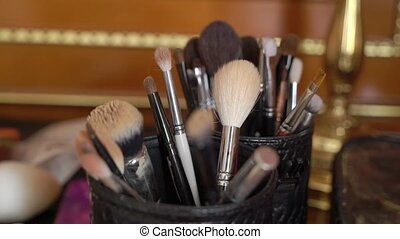 Professional makeup brushes indoors