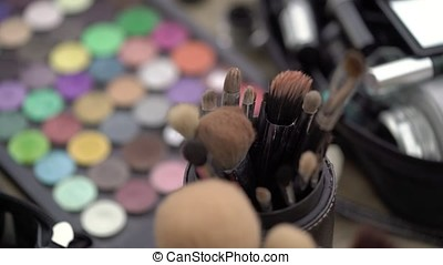 Professional makeup brushes indoors closeup