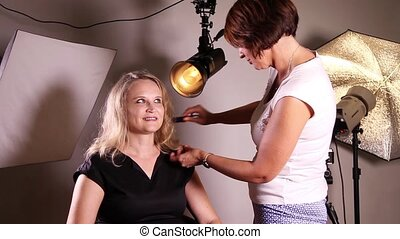 Professional makeup in studio