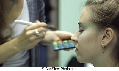 Professional makeup on a model face closeup a visage course