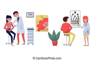 Professional Male and Female Doctor in White Coats Examining Patient Vector Illustration Set