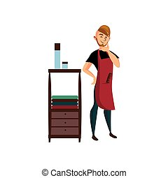 Professional male hairdresser standing at workplace cartoon vector Illustration