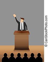 Professional Man Public Speaking at Lectern Vector Illustration