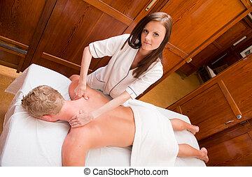 Professional Massage Therapist - Overhead portrait of a...