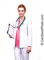 professional medic holding clipboard