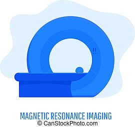 Professional medical MRI scanner machine. Medical equipment. Vector illustration isolated on a white background.