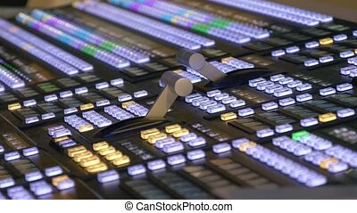 Professional modern broadcasting console. TV video and audio...