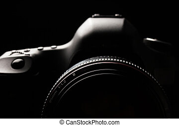 Professional modern DSLR camera low key image - Modern DSLR came