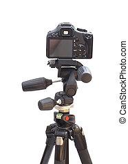 Professional modern DSLR camera on Modern tripod
