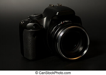 Professional modern DSLR camera with aperture lens