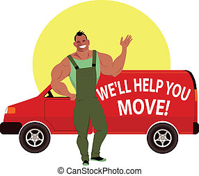 Professional mover - Muscular happy guy in overalls standing...
