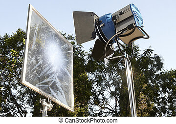 Professional movie lighting equipment with filter and ...