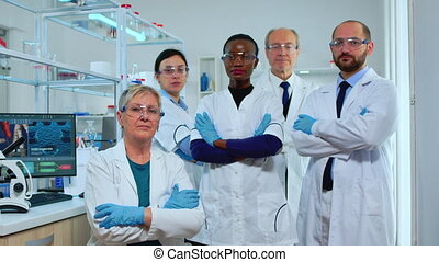 Professional multiethnic medical staff looking at camera