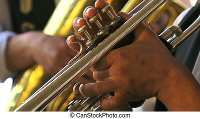 Professional musician - Musicians playing trumpet in the...