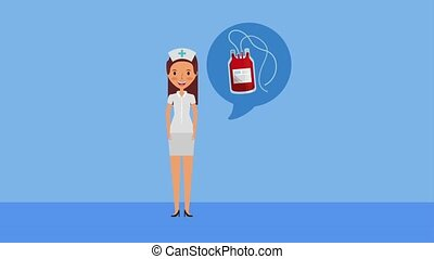 professional nurse with blood bag donation ilustration