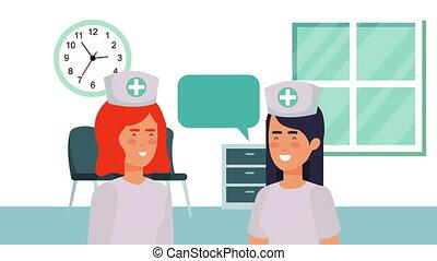professional nurses medical characters animation
