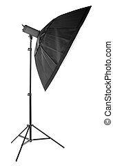Professional octobox isolated on a white background. Studio lightning for professional photography. A new octobox on a tripod.