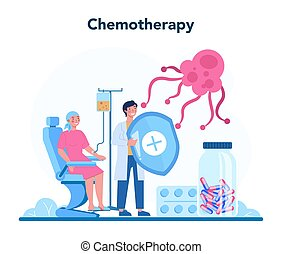 Professional oncologist concept. Cancer disease diagnostic and treatment. Oncology chemotherapy. Isolated flat vector illustration