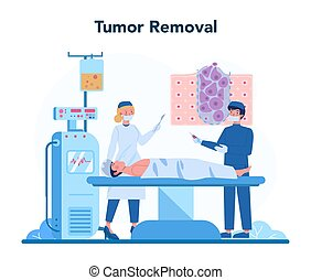 Professional oncologist concept. Cancer disease diagnostic and treatment. Oncology tumor removal. Isolated flat vector illustration