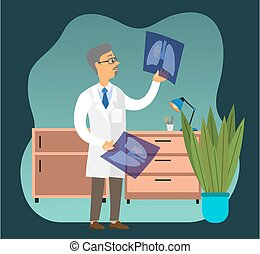 Professional oncologist male character in hospital office. Cancer disease diagnostic and treatment. Doctor examining a lung radiography holding X-ray picture. Man in white coat is looking at a photo
