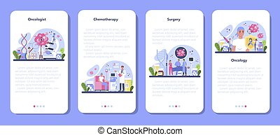 Professional oncologist mobile application banner set. Cancer disease diagnostic and treatment. Oncology chemotherapy, biopsy, tumor removal surgery. Isolated flat vector illustration