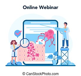 Professional oncologist online service or platform. Cancer disease diagnostic and treatment. Online webinar. Isolated flat vector illustration