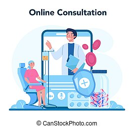 Professional oncologist online service or platform. Cancer disease diagnostic and treatment. Online consultation. Isolated flat vector illustration
