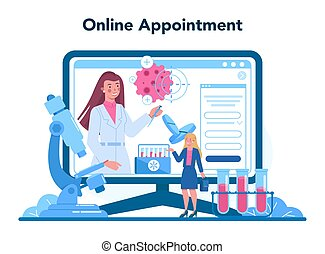 Professional oncologist online service or platform. Cancer disease diagnostic and treatment. Online appointment. Isolated flat vector illustration