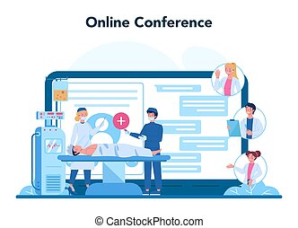 Professional oncologist online service or platform. Cancer disease diagnostic and treatment. Online conference. Isolated flat vector illustration