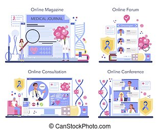Professional oncologist online service or platform set. Cancer disease diagnostic and treatment. Online magazine, consultation, forum, conference. Isolated flat vector illustration