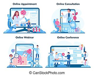 Professional oncologist online service or platform set. Cancer disease diagnostic and treatment. Online appointment, consultation, webinar, conference. Isolated flat vector illustration