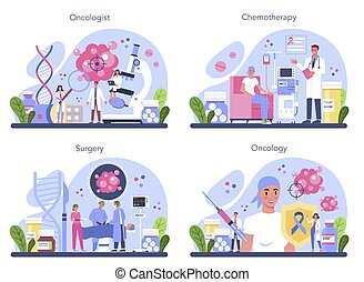 Professional oncologist set. Cancer disease diagnostic and treatment. Oncology chemotherapy, biopsy, tumor removal surgery. Isolated flat vector illustration
