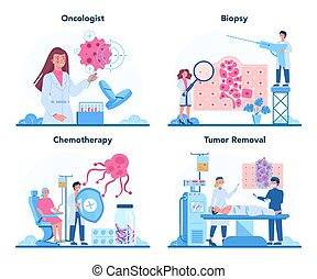 Professional oncologist set. Cancer disease diagnostic and treatment. Oncology chemotherapy, biopsy, tumor removal. Isolated flat vector illustration
