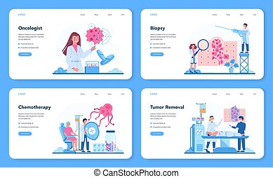 Professional oncologist web banner or landing page set. Cancer disease diagnostic and treatment. Oncology chemotherapy, biopsy, tumor removal. Isolated flat vector illustration