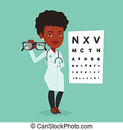 Professional ophthalmologist holding eyeglasses. - African-...