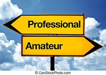 Professional or amateur opposite signs. Two opposite road...