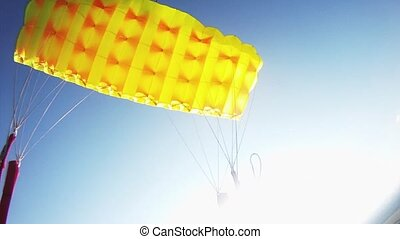Professional parachute jumper flying above green fields....