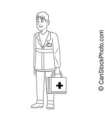 professional paramedic with medical kit character