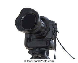 Professional photo camera isolated over white background