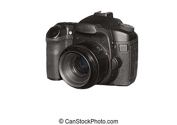 Professional photo camera isolated over white background