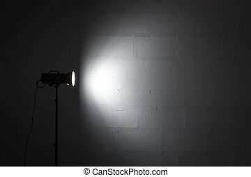 Professional photo studio strobe with reflector. -...