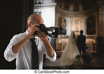 Professional photographer in a wedding