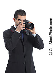 Professional photographer photographing with a digital dslr camera