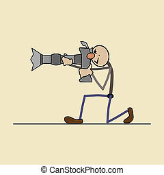 professional photographer takes a g - Photographer stands. ...